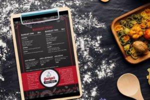 Georges Gourmet Pizza | Banquet Menu | Italian | Restaurant Graphic Design | Branding | Creative | Freelance | Illustrations | Italian Menu Design | Pizza Logo