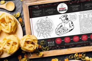 Georges Gourmet Pizza | Banquet Menu | Italian | Restaurant Graphic Design | Branding | Creative | Freelance | Illustrations | Italian Menu Design | Kids Menu | Fun | Italian Pizza Jokes