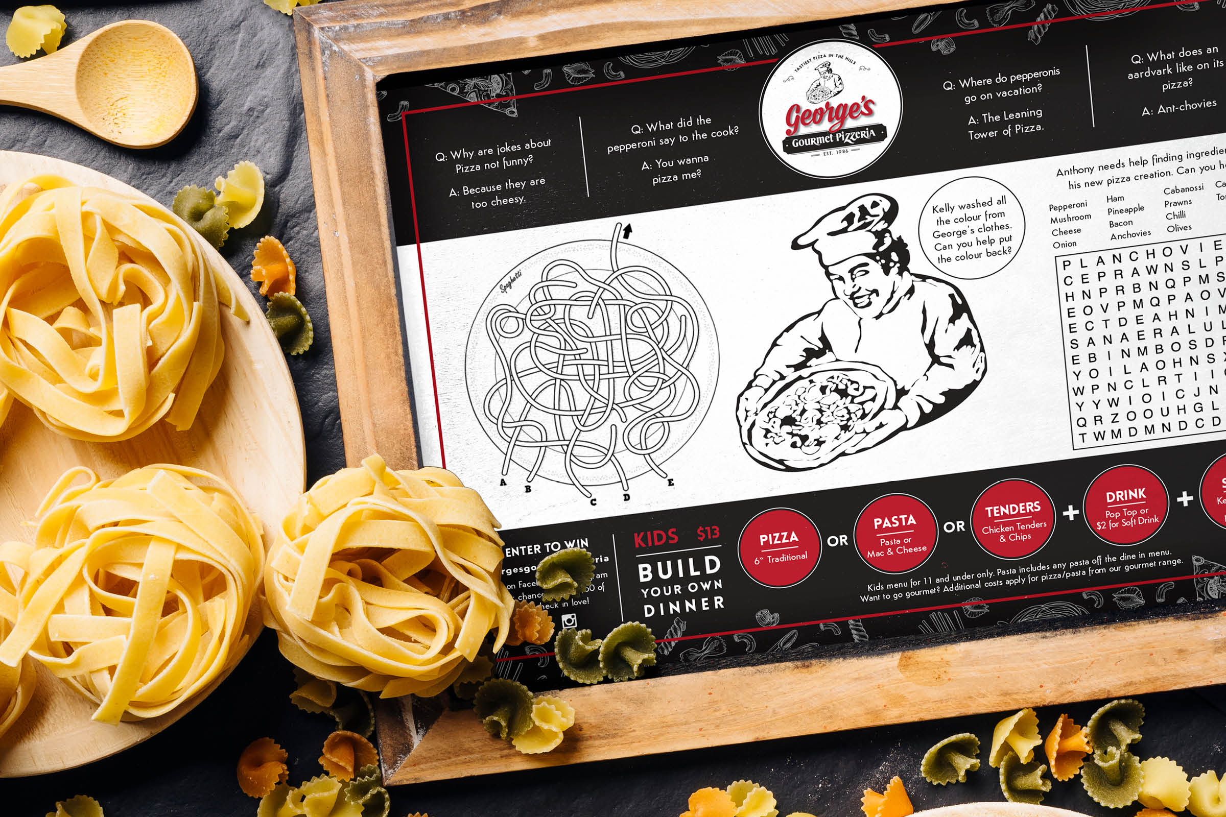 Georges Gourmet Pizza | Banquet Menu | Italian | Restaurant Graphic Design | Branding | Creative | Freelance | Illustrations | Italian Menu Design | Kids Menu | Fun | Italian Pizza Jokes