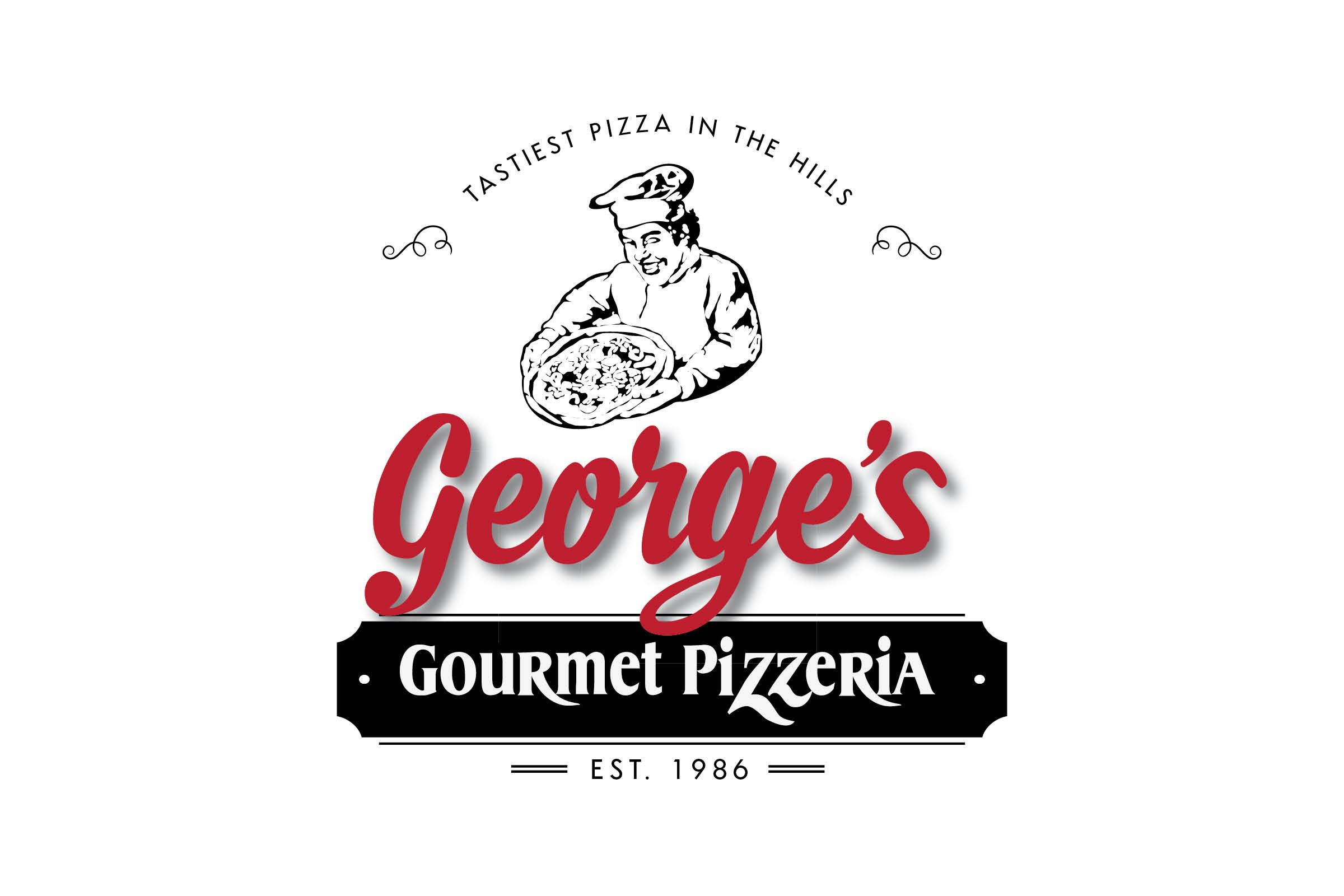 Georges Gourmet Pizza | Banquet Menu | Italian | Restaurant Logo Refresh | Pizza Logo | Black | Red | Illustration